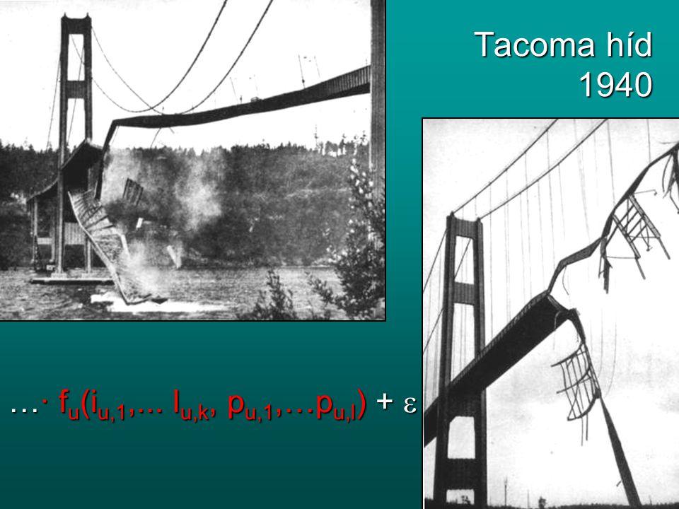 Tacoma híd 1940 …∙ fu(iu,1,... Iu,k, pu,1,…pu,l) + 