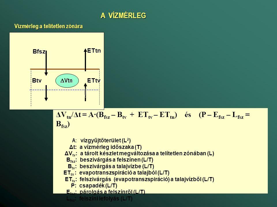 ΔVtn/Δt = A·(Bfsz – Btv + ETtv – ETtn) és (P – Efsz – Lfsz = Bfsz)