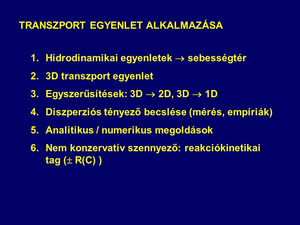 TRANSZPORT EGYENLET ALKALMAZÁSA