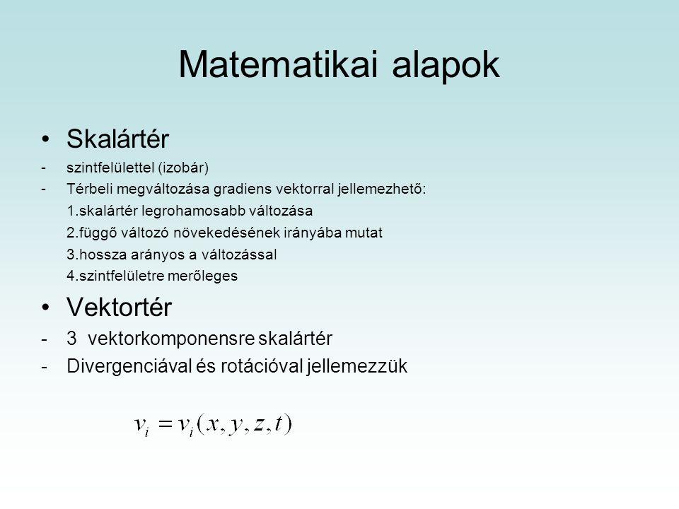 Matematikai alapok Skalártér Vektortér 3 vektorkomponensre skalártér