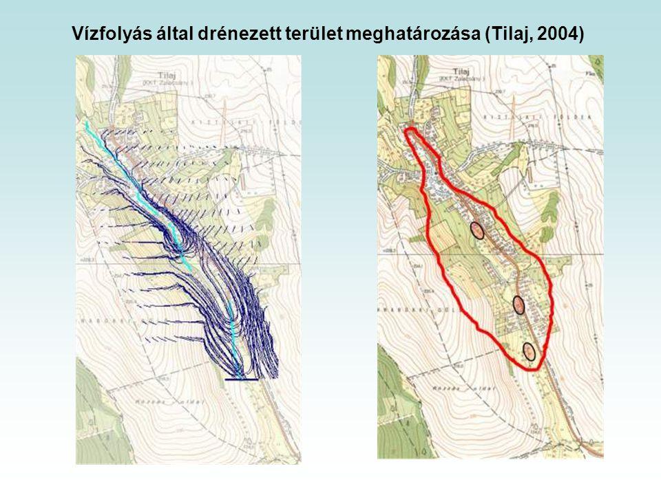 Vízfolyás által drénezett terület meghatározása (Tilaj, 2004)