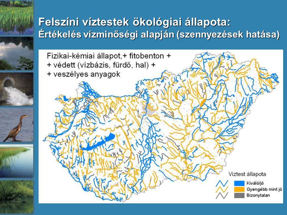 Felszíni víztestek ökológiai állapota:
