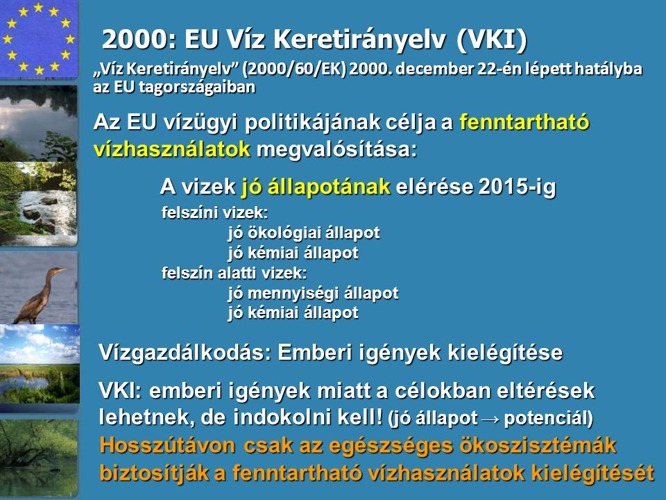 2000: EU Víz Keretirányelv (VKI)