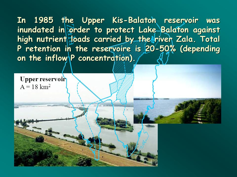 In 1985 the Upper Kis-Balaton reservoir was inundated in order to protect Lake Balaton against high nutrient loads carried by the river Zala. Total P retention in the reservoire is 20-50% (depending on the inflow P concentration).