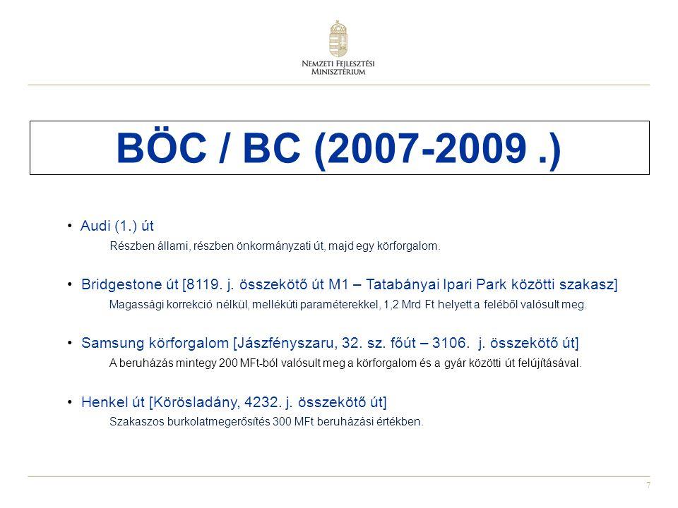 BÖC / BC (2007-2009 .) Audi (1.) út. Részben állami, részben önkormányzati út, majd egy körforgalom.