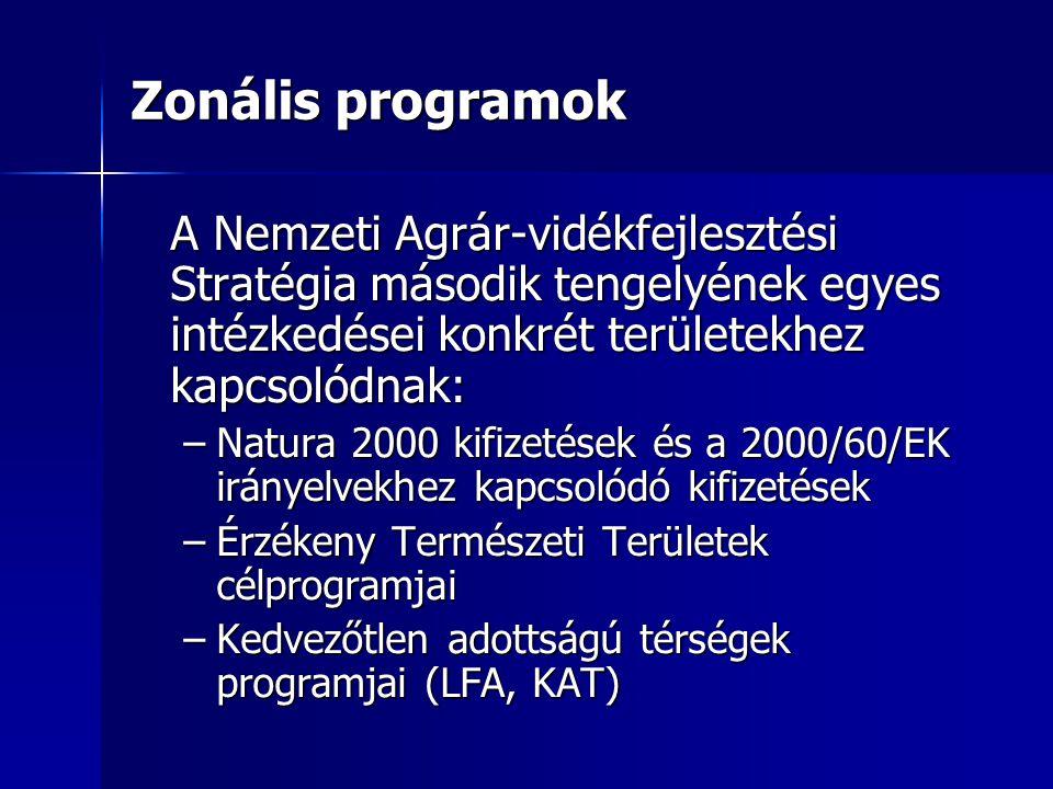Zonális programok A Nemzeti Agrár-vidékfejlesztési Stratégia második tengelyének egyes intézkedései konkrét területekhez kapcsolódnak: