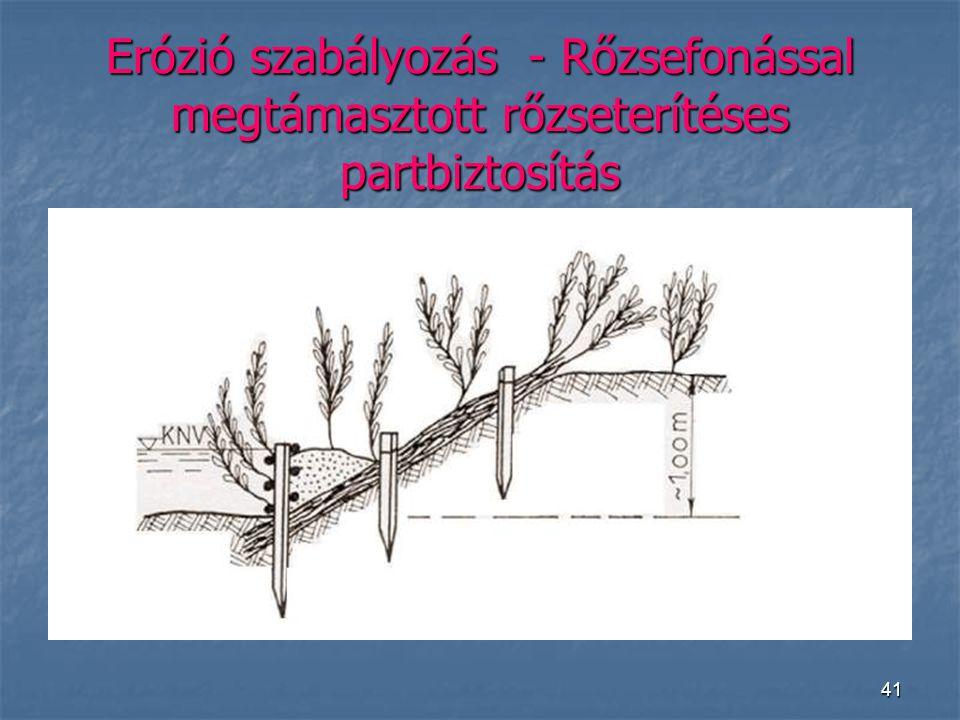 Erózió szabályozás - Rőzsefonással megtámasztott rőzseterítéses partbiztosítás