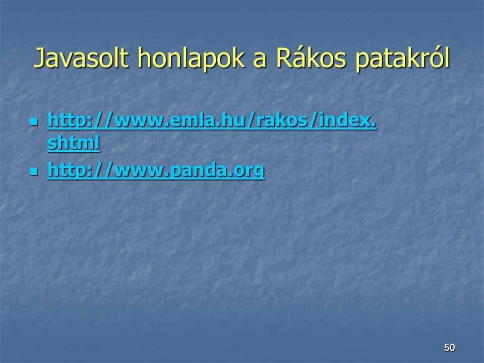 Javasolt honlapok a Rákos patakról