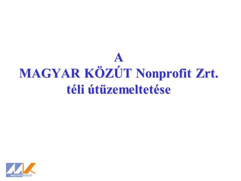 A MAGYAR KÖZÚT Nonprofit Zrt. téli útüzemeltetése