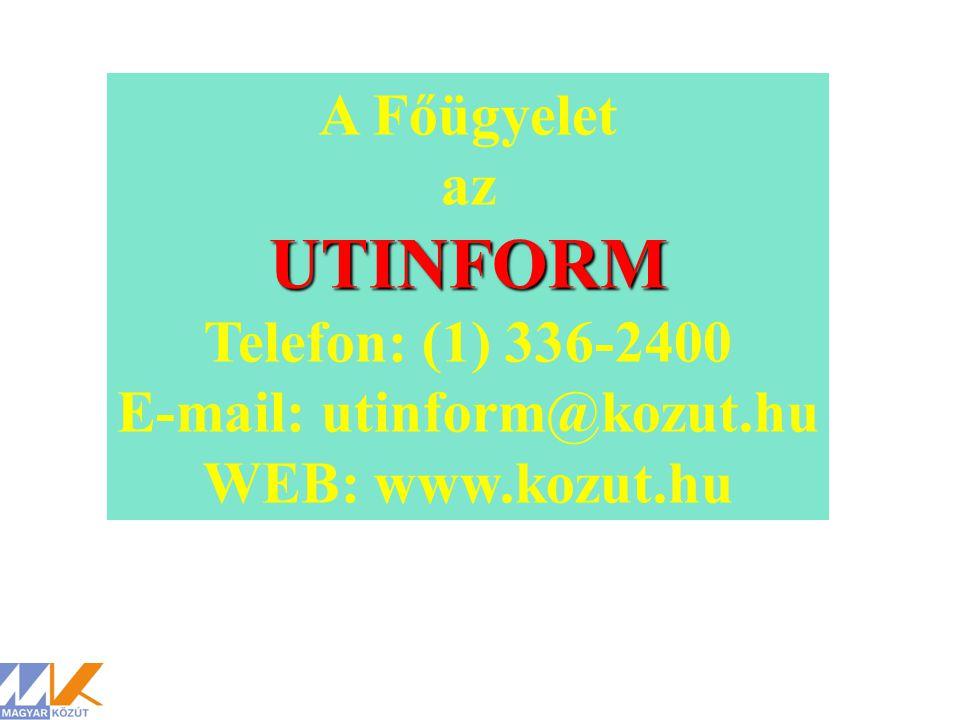 E-mail: utinform@kozut.hu