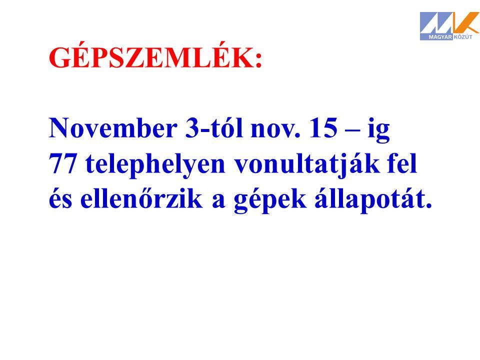 GÉPSZEMLÉK: November 3-tól nov. 15 – ig. 77 telephelyen vonultatják fel.