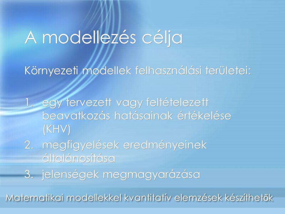 A modellezés célja Környezeti modellek felhasználási területei: