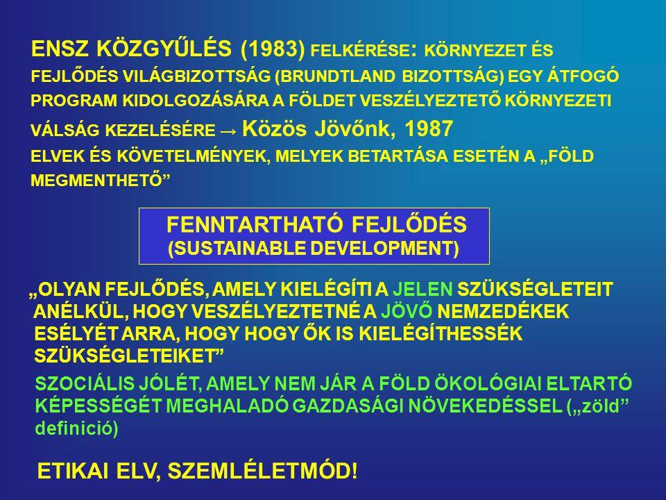 FENNTARTHATÓ FEJLŐDÉS (SUSTAINABLE DEVELOPMENT)