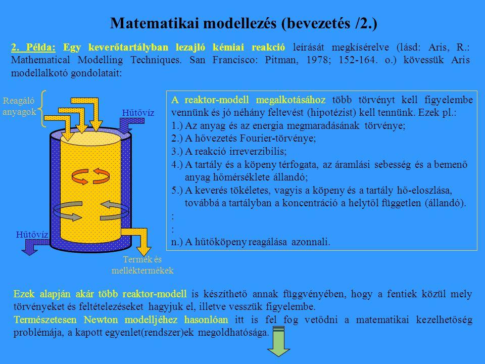 Matematikai modellezés (bevezetés /2.)