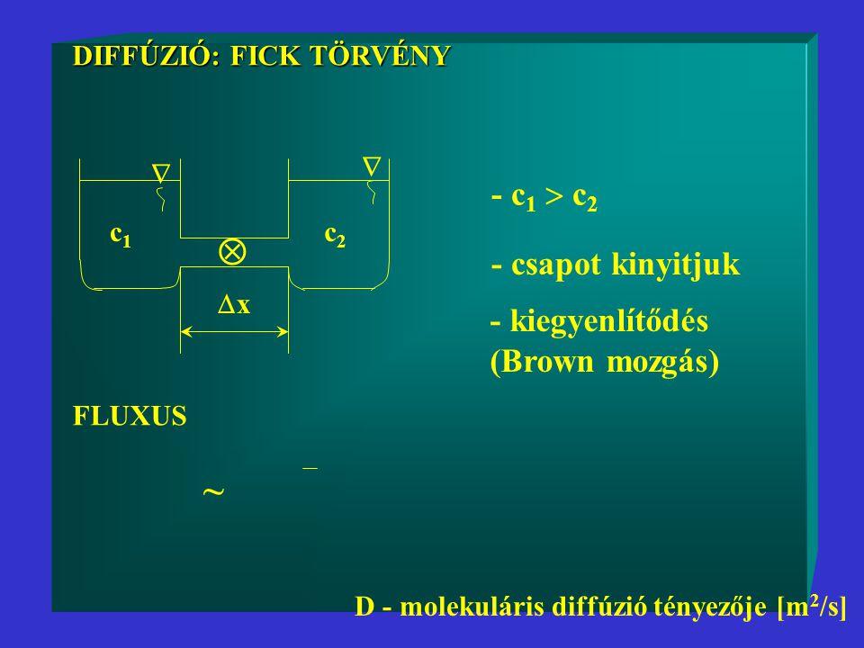  ~ - c1  c2 - csapot kinyitjuk - kiegyenlítődés (Brown mozgás)