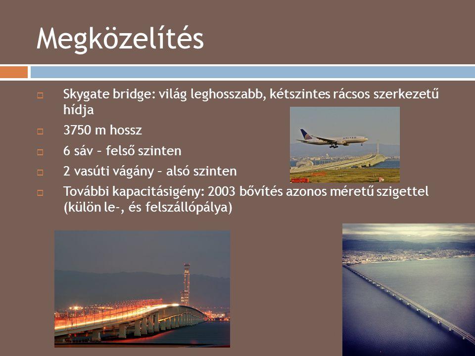 Megközelítés Skygate bridge: világ leghosszabb, kétszintes rácsos szerkezetű hídja. 3750 m hossz.