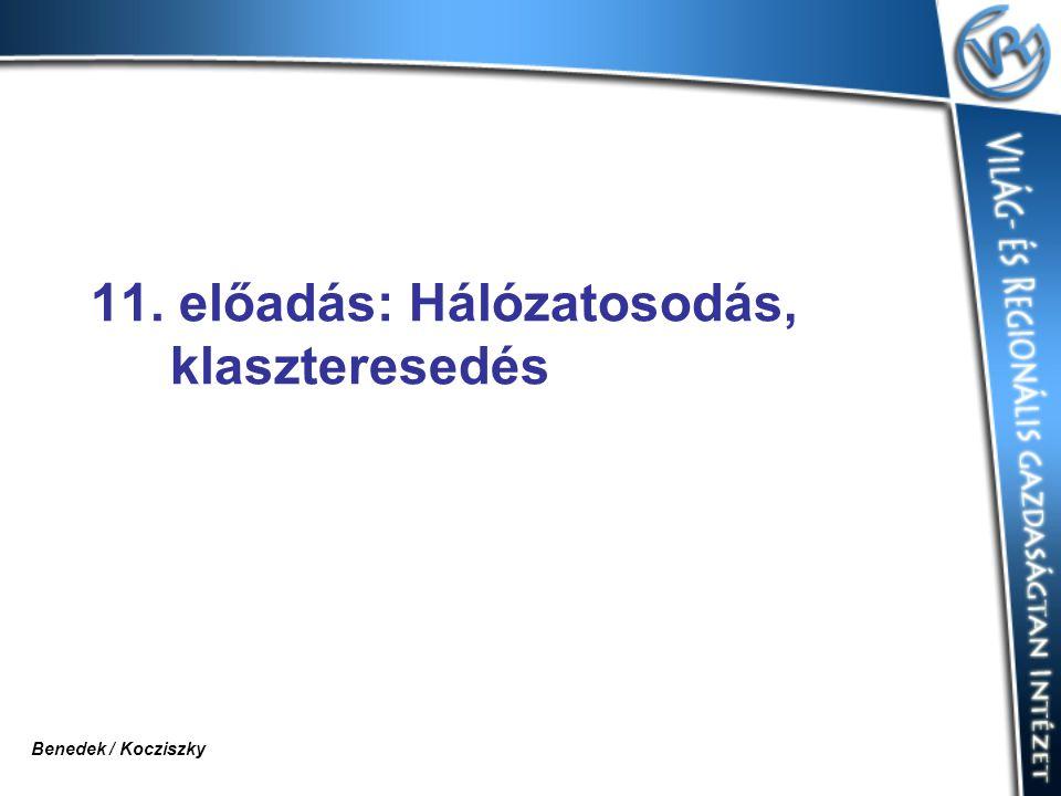 11. előadás: Hálózatosodás, klaszteresedés