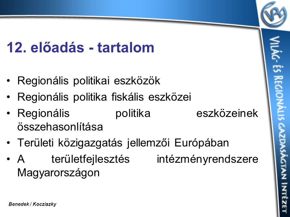 12. előadás - tartalom Regionális politikai eszközök