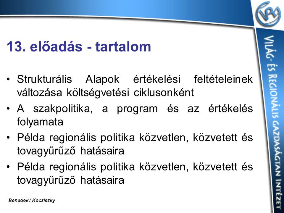 13. előadás - tartalom Strukturális Alapok értékelési feltételeinek változása költségvetési ciklusonként.