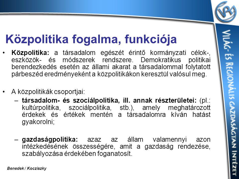 Közpolitika fogalma, funkciója