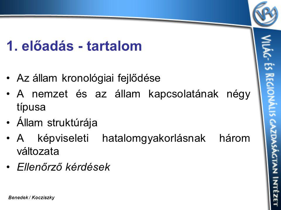 1. előadás - tartalom Az állam kronológiai fejlődése