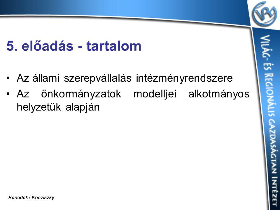 5. előadás - tartalom Az állami szerepvállalás intézményrendszere