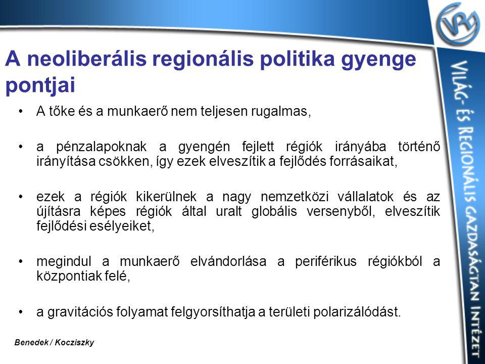 A neoliberális regionális politika gyenge pontjai