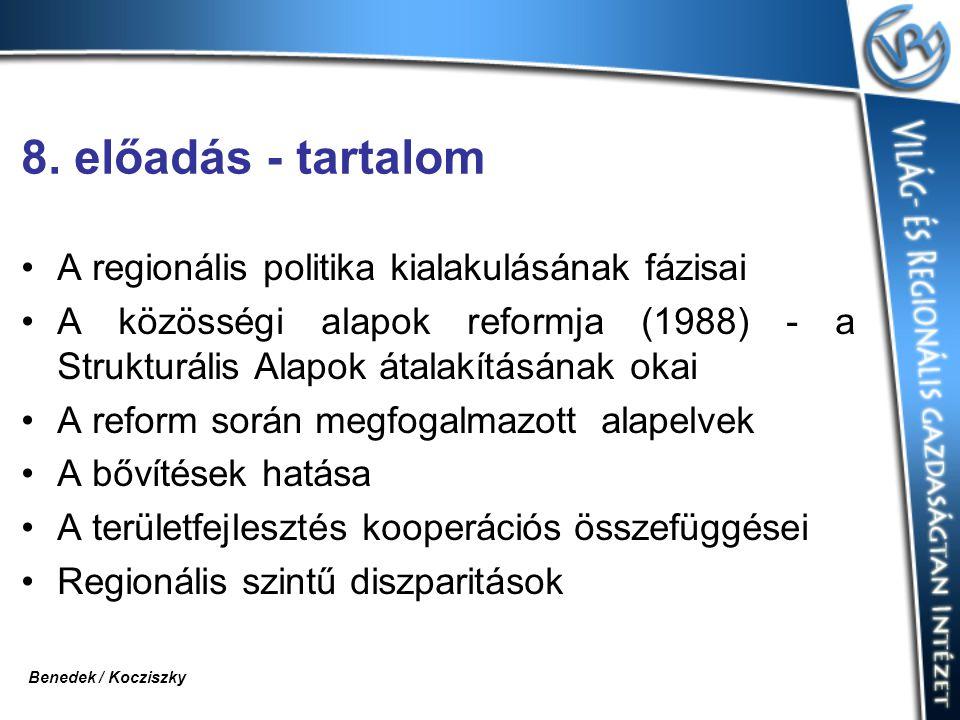 8. előadás - tartalom A regionális politika kialakulásának fázisai