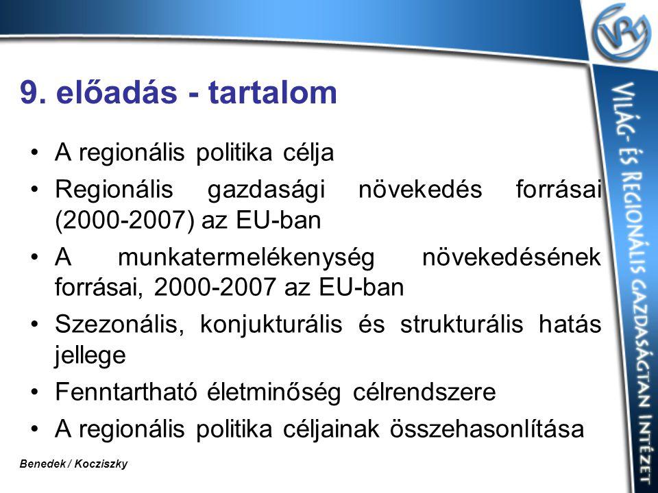 9. előadás - tartalom A regionális politika célja