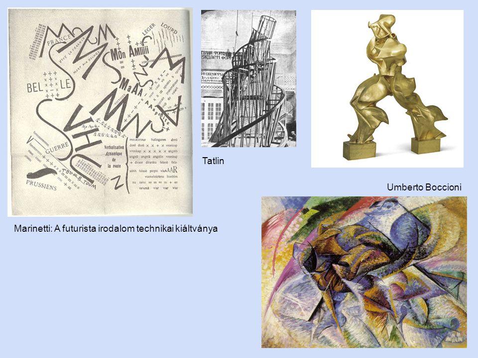 Tatlin Umberto Boccioni Marinetti: A futurista irodalom technikai kiáltványa