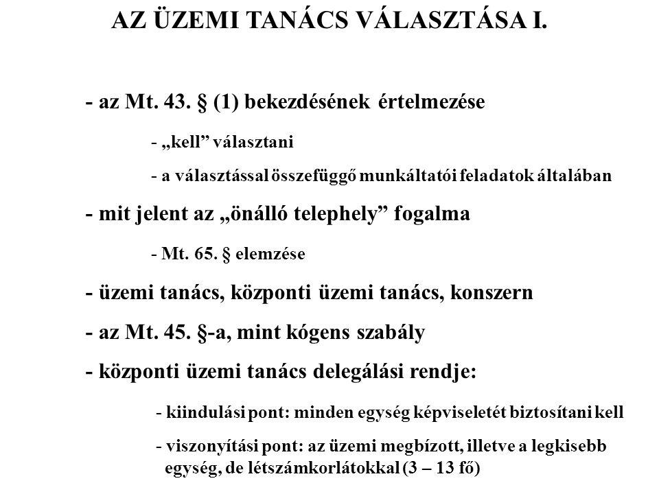AZ ÜZEMI TANÁCS VÁLASZTÁSA I.