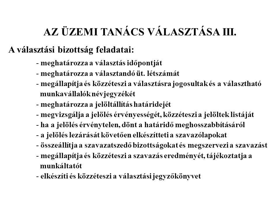 AZ ÜZEMI TANÁCS VÁLASZTÁSA III.
