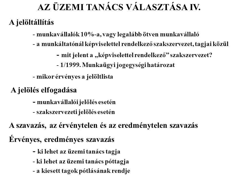 AZ ÜZEMI TANÁCS VÁLASZTÁSA IV.