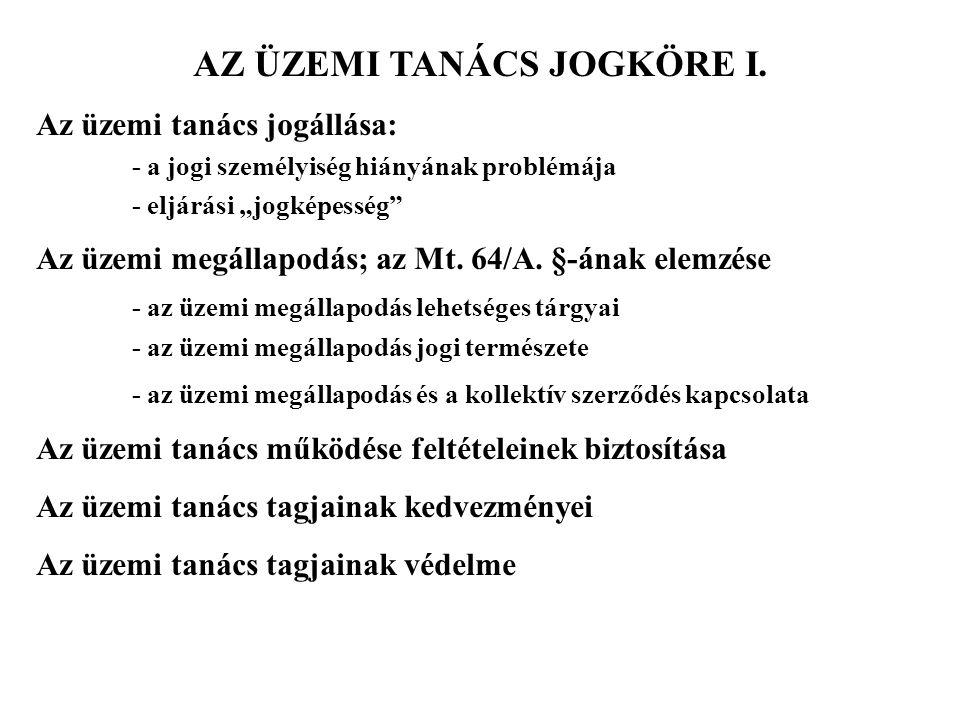 AZ ÜZEMI TANÁCS JOGKÖRE I.