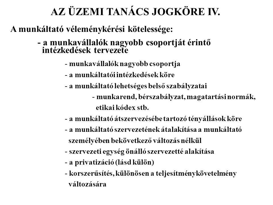 AZ ÜZEMI TANÁCS JOGKÖRE IV.