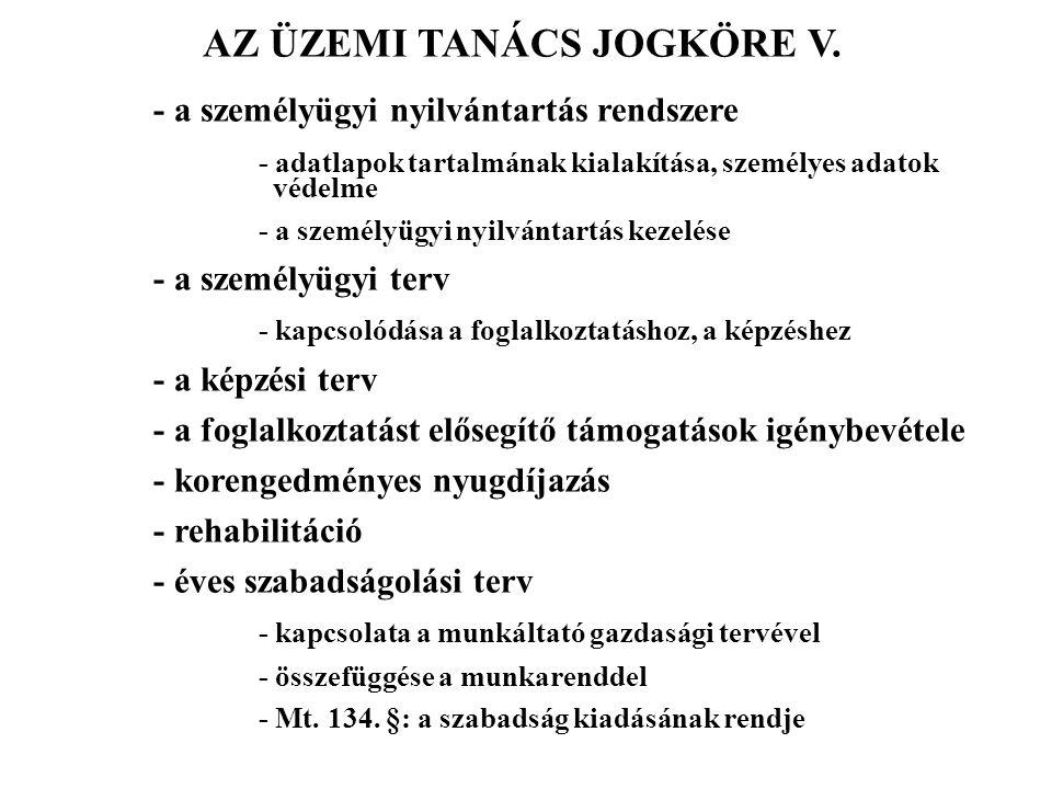 AZ ÜZEMI TANÁCS JOGKÖRE V.