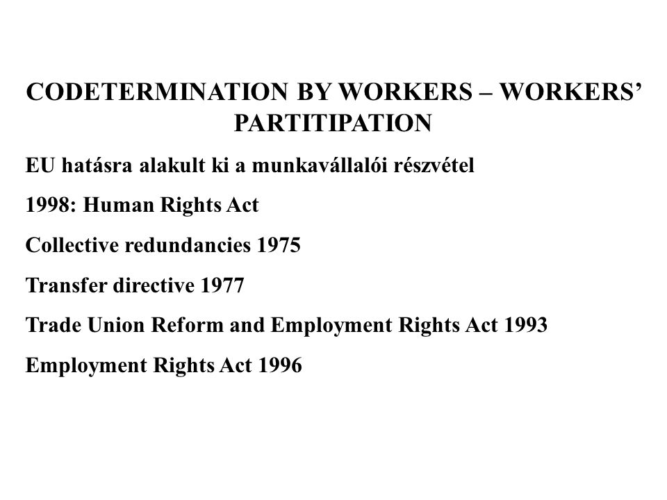 CODETERMINATION BY WORKERS – WORKERS' PARTITIPATION