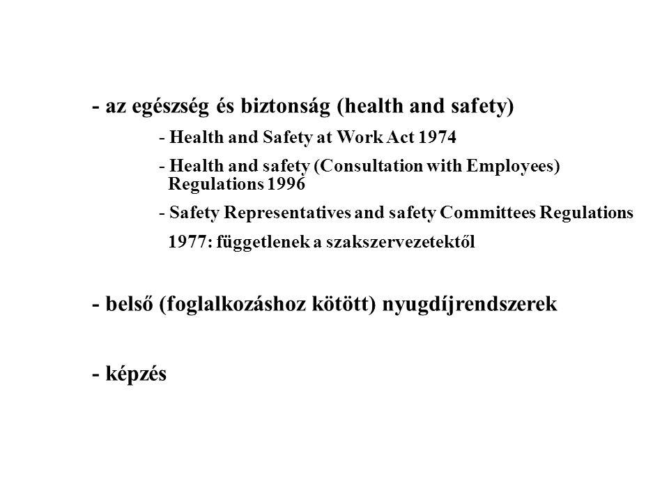 - az egészség és biztonság (health and safety)