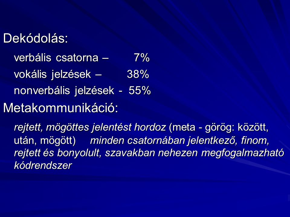 Dekódolás: verbális csatorna – 7% Metakommunikáció: