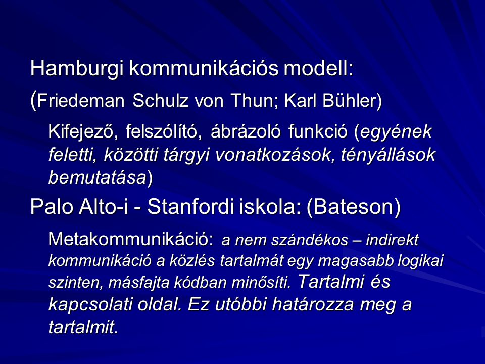 Hamburgi kommunikációs modell: