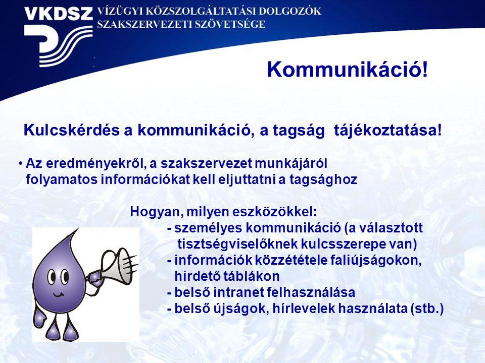 Kulcskérdés a kommunikáció, a tagság tájékoztatása!