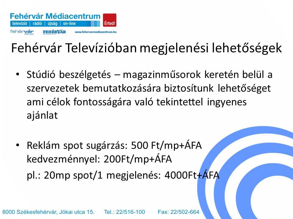 Fehérvár Televízióban megjelenési lehetőségek