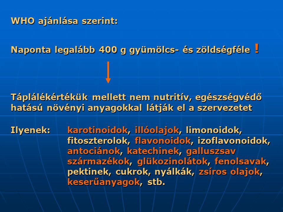 WHO ajánlása szerint: Naponta legalább 400 g gyümölcs- és zöldségféle !