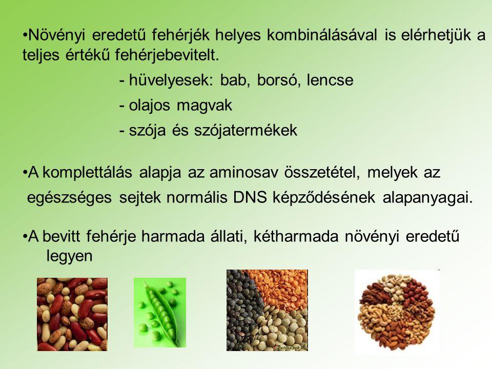 Növényi eredetű fehérjék helyes kombinálásával is elérhetjük a teljes értékű fehérjebevitelt.
