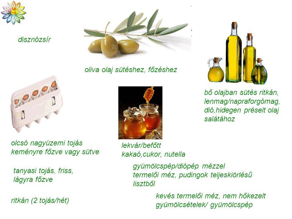 disznózsír oliva olaj sütéshez, főzéshez. bő olajban sütés ritkán, lenmag/napraforgómag, dió,hidegen préselt olaj salátához.