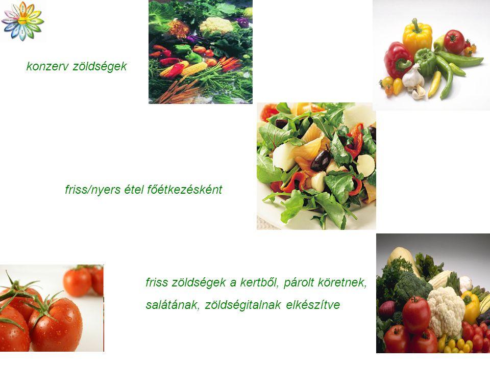 konzerv zöldségek friss/nyers étel főétkezésként.