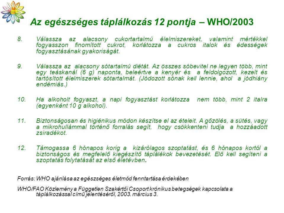 Az egészséges táplálkozás 12 pontja – WHO/2003