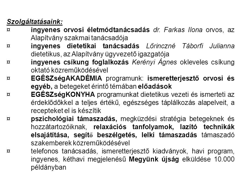 Szolgáltatásaink: ¤ ingyenes orvosi életmódtanácsadás dr. Farkas Ilona orvos, az Alapítvány szakmai tanácsadója.