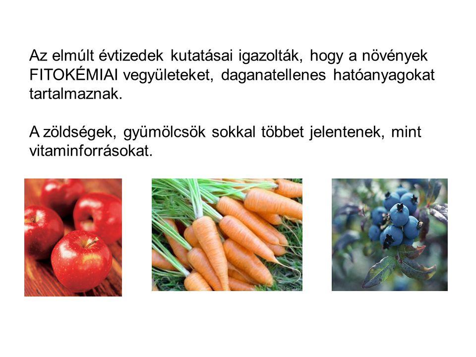 Az elmúlt évtizedek kutatásai igazolták, hogy a növények FITOKÉMIAI vegyületeket, daganatellenes hatóanyagokat tartalmaznak.