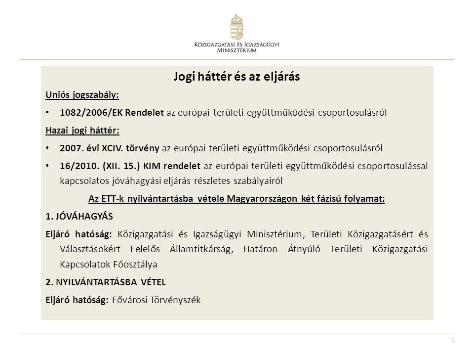 Az ETT-k nyilvántartásba vétele Magyarországon két fázisú folyamat: